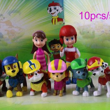 Hot!!! 10pcs/lot Toys juguetes Kids puppy patrol toys Canine Action Figures pawed Doll Birthday Gift