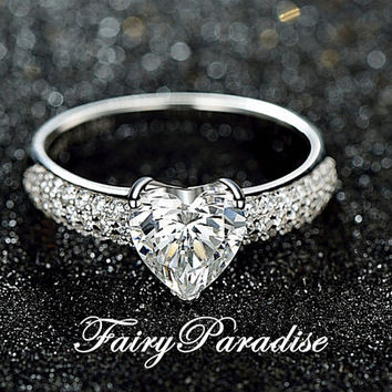 1 Carat Heart Cut Man Made Diamond Solitaire Engagement Rings / Promise Ring in 3 rows pave band, Anniversary rings  (Fairy Paradise) MR030C