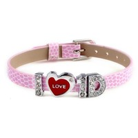 Imixlot One Direction Style ID Member Leather Bracelet Friendship Wirstband Pink