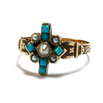 Victorian Persian Turquoise and 14K Rose Gold Pearl Ring - Aesthetic Movement - Size 7