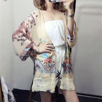 2017 Trending Fashion Women Floral Printed Tassel Floral Printed Loose Japanese dress Outerwear Jacket Top _ 12563