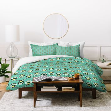 Raven Jumpo Aqua Bulbs Duvet Cover