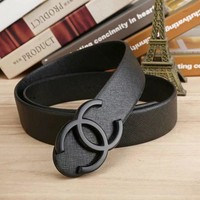 CHANEL Woman Fashion Smooth Buckle Belt Leather Belt H-A-GFPDPF