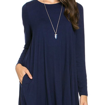 Long Sleeve Sleeve Trapeze Dress  - Navy