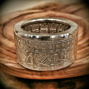 "Silver ""Pieces of Eight,"" ""Praedatum in Mundo"" (Latin) - A Predatory World - Hand Forged Pure Silver Coin Ring"