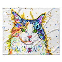 "Rebecca Fischer ""Royal"" Rainbow Cat Fleece Throw Blanket"