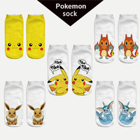 2016 New Arrival Harajuku Pokemon Sock 3D Printed Cartoon Women's Socks Pikachu Novelty Low Cut Ankle Cute Socks Meias