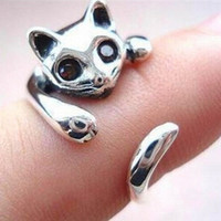 Cute Silver Cat Shaped Ring With Rhinestone Eyes Adjustabl