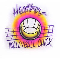 Airbrushed Volleyball Chick Personalized T-shirt - You choose size - any name, any spelling you decide colors