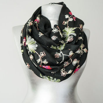 Embroidered Scarf Unique Scarf Floral Scarf Women Scarf Women Fashion Black Scarf Gift for Her Women Accessories