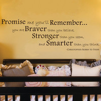 "Promise Me You'll Remember Winnie the Pooh Quote Wall Decal 12""h X 35""w"
