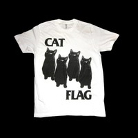 The ORIGINAL Black Flag CAT FLAG T Shirt Sizes SMALL thru X-LARGE