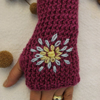 Hand Knitted Fingerless Gloves, Female purple gloves , Flower embroidered gloves,Turkish handicrafts, Gift Ideas, For Her,Winter Accessories