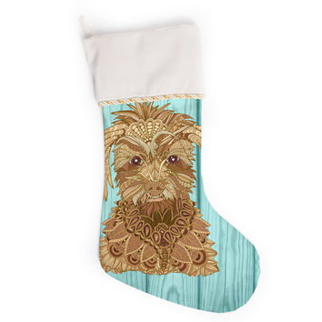 "Art Love Passion ""Gatsby the Great"" Brown Dog Christmas Stocking"