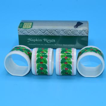 Hallmark Christmas Napkin Rings Vintage Holly Berry Christmas Rings Set of 4 Holiday Decor Christmas Dining Kitchen Decor