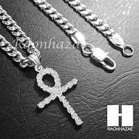 Iced Out 316L Stainless steel Silver Egyt Ankh Cross 5mm Cuban Chain SG015