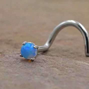 Light Blue Fire Opal Nose Screw Ring Nose Stud