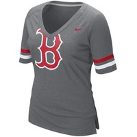 Nike Boston Red Sox Ladies Large Logo 1/4 Sleeve V-Neck T-Shirt - Charcoal