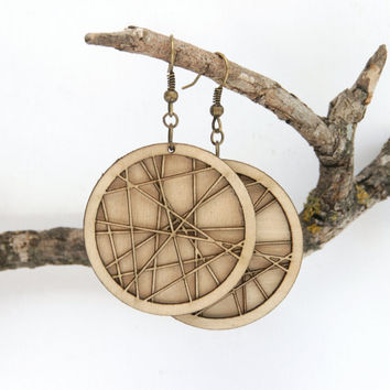 Laser Cut Natural Wood Earrings by DiamondsAreEvil on Etsy