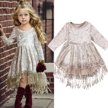 Flower Baby Girls Kids Party Wedding Princess Tutu Dresses Summer Vestidos Velvet Lace Floral Tassels Dresses Sundress Clothes