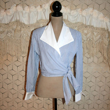 Vintage Long Sleeve Blouse Crop Top Wrap Top Nautical Sailor Top Blue + White Pinstripe Shirt Spring Tops Summer Tops Large Womens Clothing