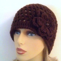 Dark Brown Beanie Hat, Womens Crochet Flower Hat