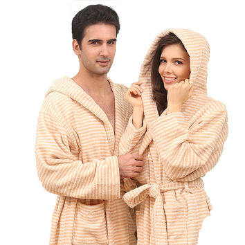 Hooded color cotton bathrobe men nightgown women girls winter blanket towel fleece thick lovers long soft plus size XL summer