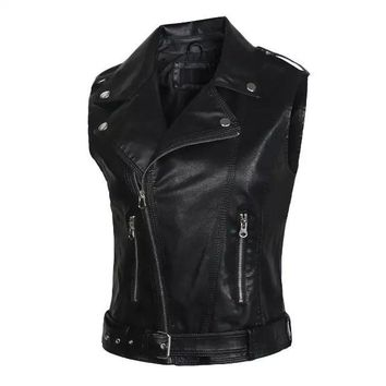 winter women's new style slim slim Motorcycle Leather Vest