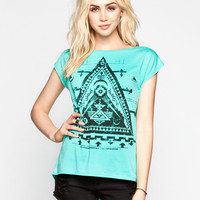 Full Tilt Ethnic Triangle Womens Burnout Tee Teal Blue  In Sizes