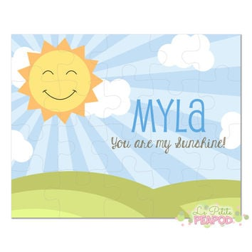 "Personalized 8"" x 10"" Puzzle - 20 or 100 pieces - You are my Sunshine Puzzle - Kawaii Sun Gift - Bible Gift - Personalized Name Puzzle"