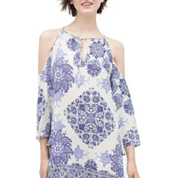 Blue and White Tribal Print Bare Shoulder Tunic Dress
