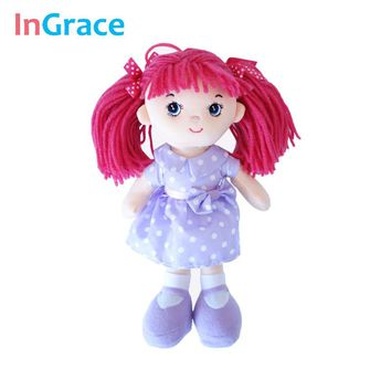 InGrace red hair cute mini cute doll for baby girls with purple cotton dress beautiful and high quality girls gift toys 25CM