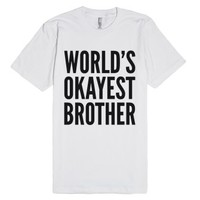 World's Okayest Brother T-shirt Black Art