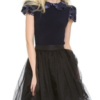 Marti Collar Top with Pleated Sleeves