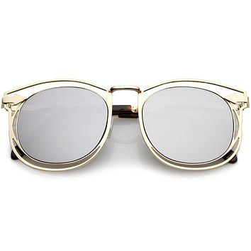Oversize Dual Wire Frame Flat Mirrored Lens Sunglasses C080