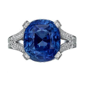11.01 Carat Blue Sapphire and Diamond Ring, GRS Certified