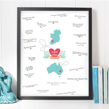 Modern Guest Book Ideas Wedding Map Getting Married Abroad Guestbook