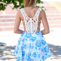 SUMMER ESCAPE DRESS , DRESSES, TOPS, BOTTOMS, JACKETS & JUMPERS, ACCESSORIES, 50% OFF SALE, PRE ORDER, NEW ARRIVALS, PLAYSUIT, COLOUR, GIFT VOUCHER,,Blue,LACE,CUT OUT,SLEEVELESS,MINI Australia, Queensland, Brisbane