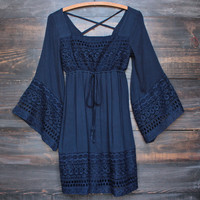 boho dress with bell sleeves in navy