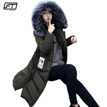 Fitaylor 2017 New Cotton Long Silm Warm Winter Jacket Women Fashion Hooded Faux Fur Parka Mujer Plus Size Invierno Coat Femme