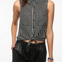 Sparkle & Fade Striped Tie-Front Top