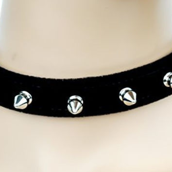 "Black Velvet 1/2"" Silver Spiked Choker Soft Fashion Collar"