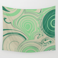 Spiraling Green Wall Tapestry by sm0w