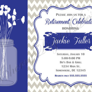 Retirement Party Rustic Mason Jar Poppy Ginko, Blue, White & Gray Printable Invitation.  Retirement party invitation for her.