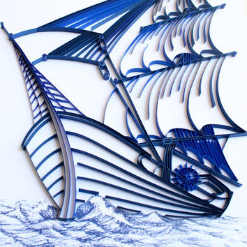 Sailing Ship - Unique Paper Quilled Wall Art for Home Decor (paper quilling handcrafted art piece made with love by an artist in California)