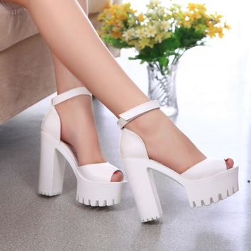 Platform shoes woman high heels women shoes zapatos mujer 2018 new fashion ladies shoes fish head lolita shoes women pumps tenis