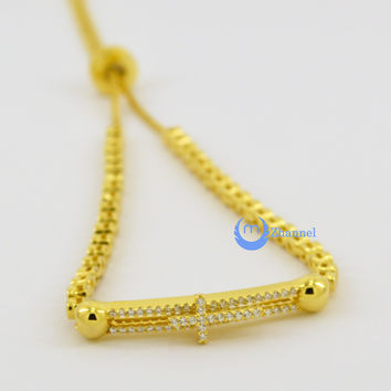 Contemporary Modern Gold Bracelet with Moving Cross Sterling Silver CZ