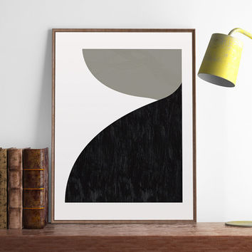 Minimalist print, Mid century modern, Abstract poster, Monochrome art, Scandinavian art print, Wall art, Modern print, Black shapes, Decor