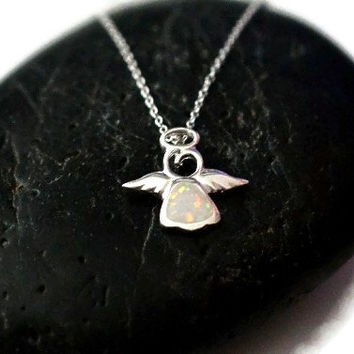Silver Angel necklace - White Opal Angel Necklace Pendant - Child Silver Angel Charm - Small 925 Angel Opal Pendant - Kid Angel Necklace