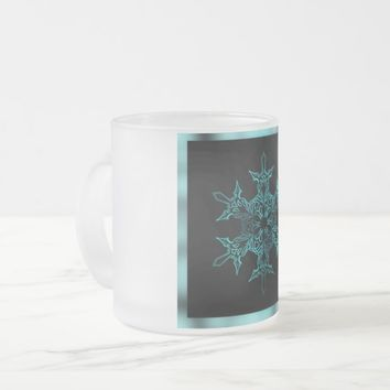 Blue and Black Snowflake Frosted Glass Mug